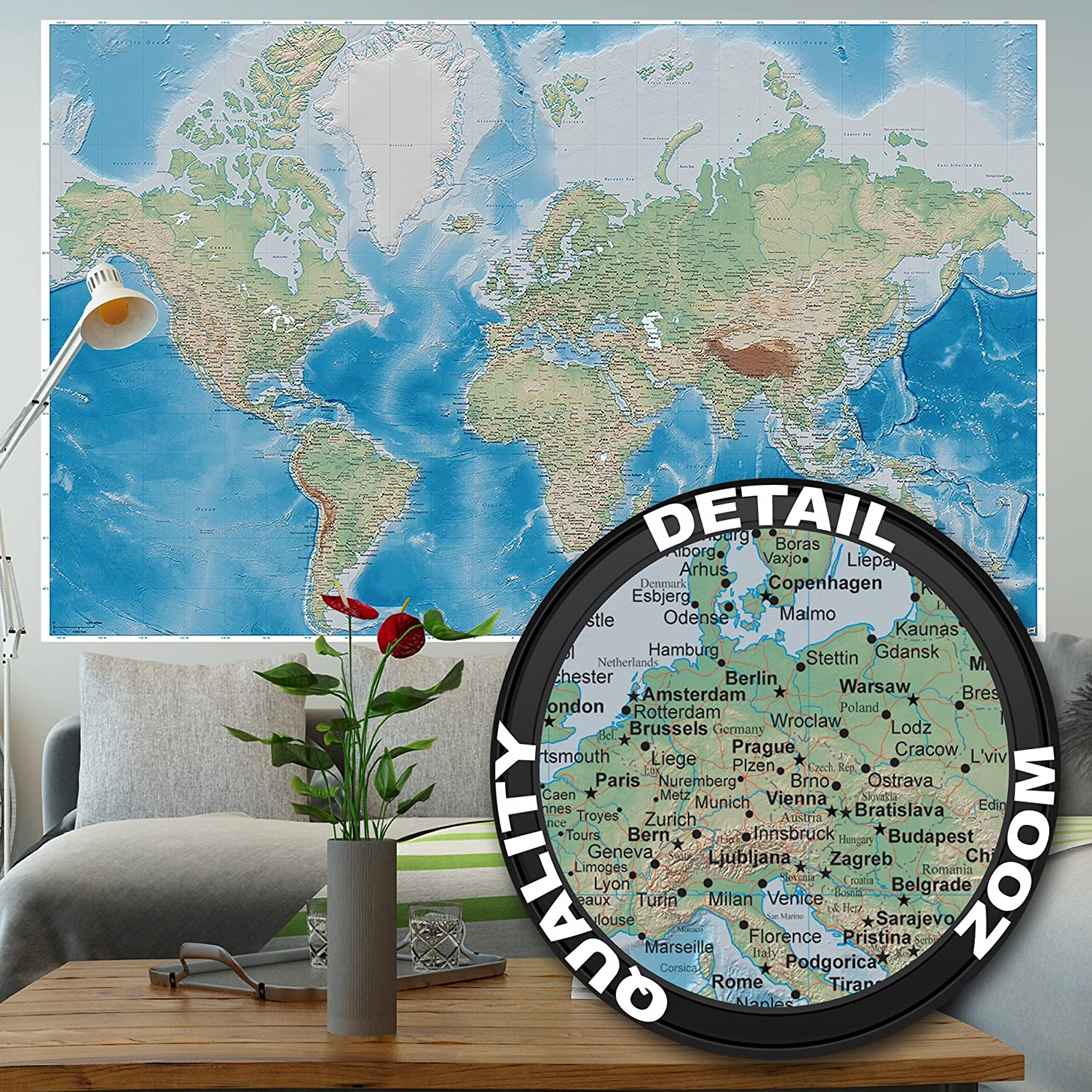 Wallpaper World map – wall picture decoration miller projection in plastically relief design earth atlas globe I paperhanging Wallpaper poster wall decor by GREAT ART (82.7x55 Inch)