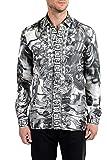 Versace Collection Trend Men's 100% Silk Graphic Long Sleeve Dress Shirt Sz US 16 IT 41