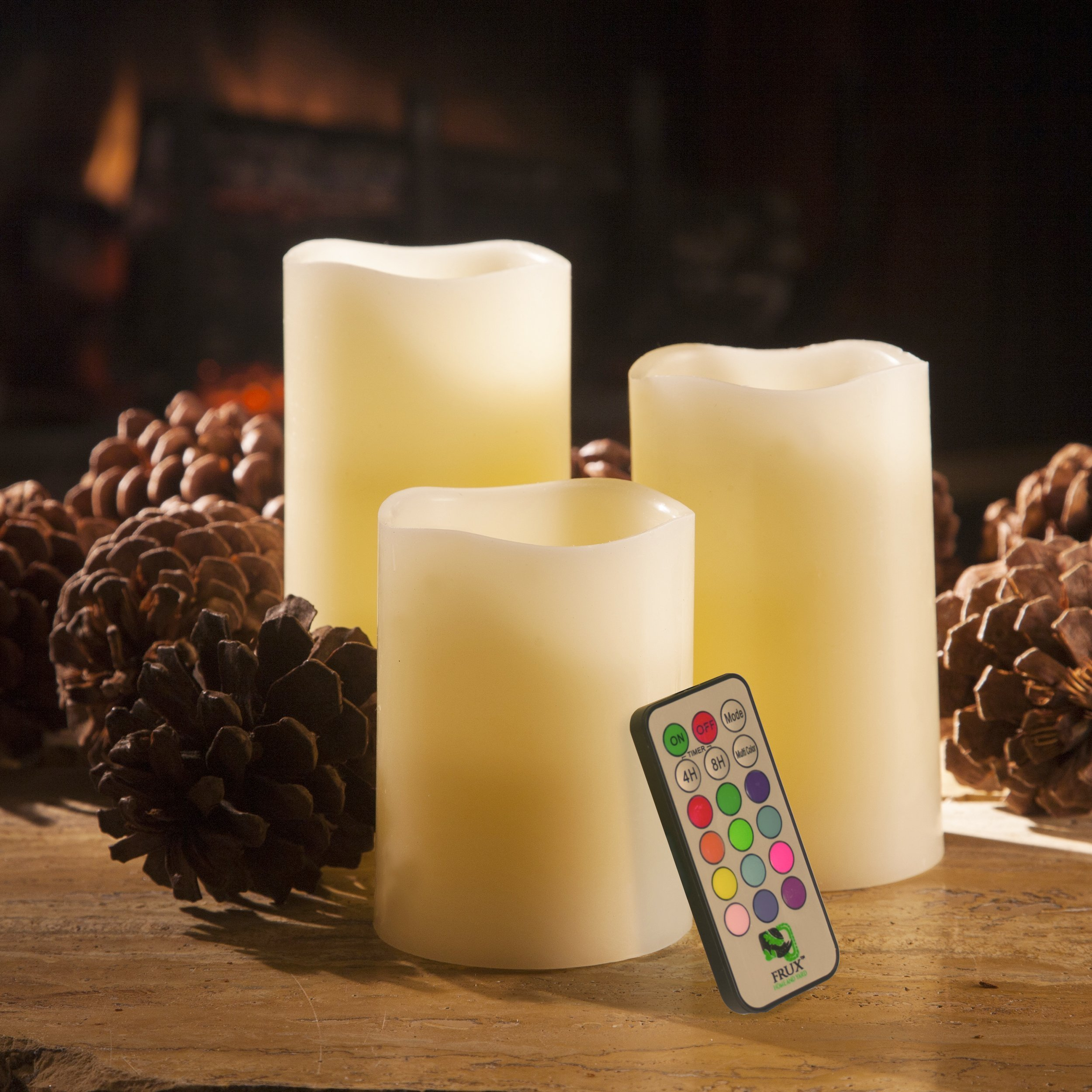 BEST FLAMELESS CANDLES WITH 12 COLOR, TIMER REMOTE CONTROL, Unscented Flickering Battery Operated Electric Candle for Home Decor, Weddings, Parties & Gifts, Set of 4' 5' 6' Pillars & BONUS Ball Candle by Frux Home and Yard (Image #3)