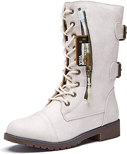 Women's High Lace up Military Combat Mid Calf Boots