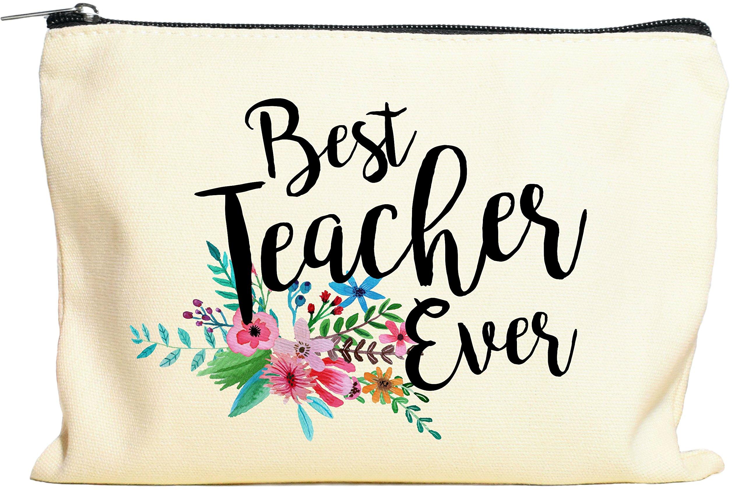 Teacher Gifts, Teacher Appreciation Gift, Best Teacher Ever, Makeup Bag, Pencil Case, Teacher Gift, Teacher Gifts For Women, Preschool, Elementary, High School, Teacher Pencil Bag