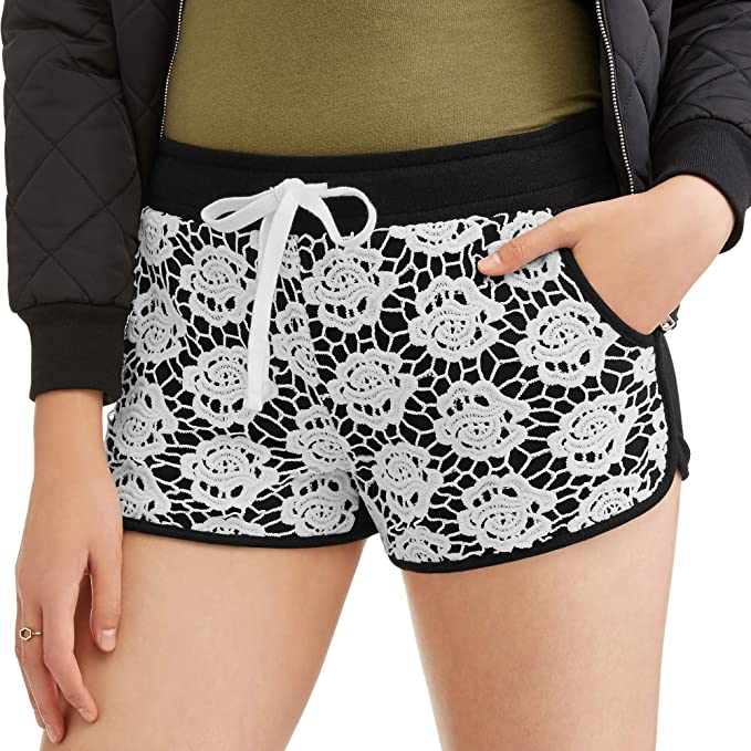 Juniors Lace Front Panel Short with Drawstring White