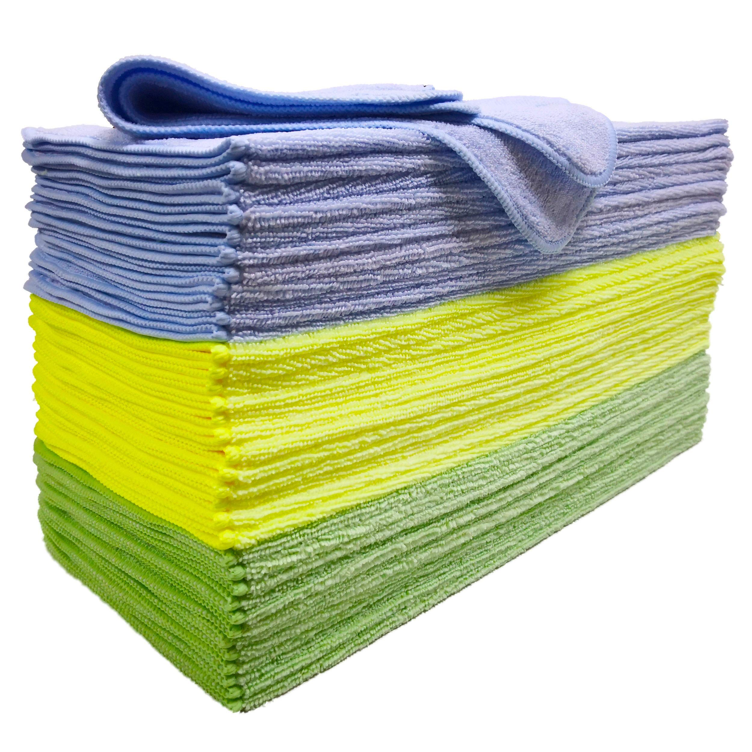 Polyte Microfiber Cleaning Towel (16x16, 36 Pack, Premium, Light Blue,Green,Yellow)