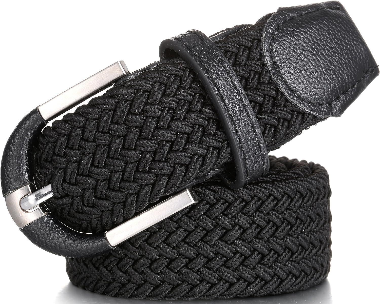 Mio Marino Elastic Belt for Men and Women Woven Stretch Belt Gift Box L Black
