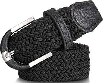 Mio Marino Elastic Belt for Men and Women - Woven Stretch Belt - Gift Box - Black - S