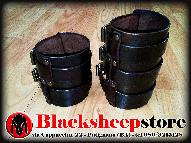 Bracciale cuoio moda Zakk a bande Wylde style Triple Belted Leather Gauntlet bracer bracelet