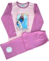 Girls Disney Frozen Anna, Elsa and Olaf Pink Pyjamas Sizes 5 to 10 Years