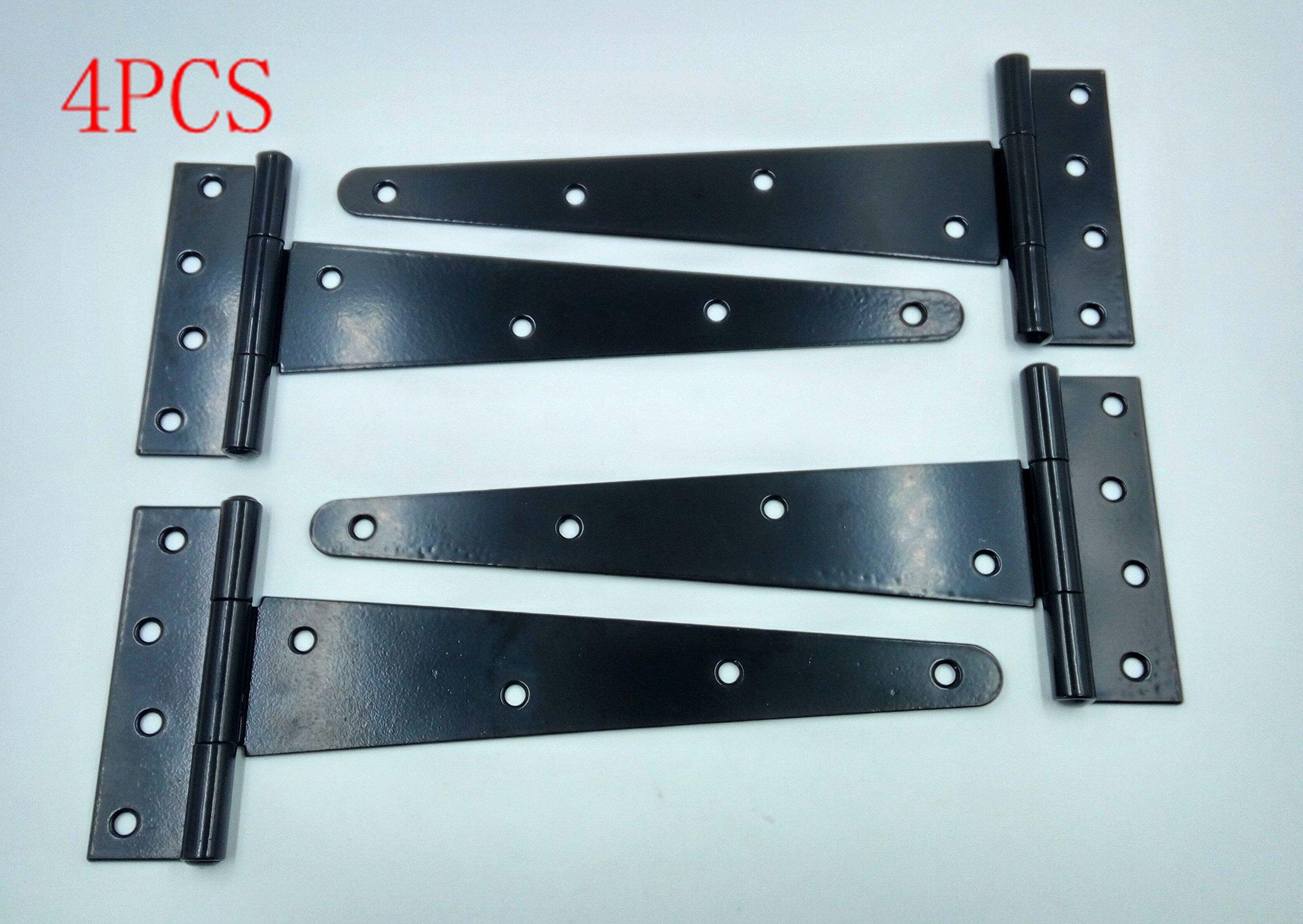 Wang-Data 4PCS T-Strap 11'' Heavy Duty Shed Hinge Gate Decorative Strap Hinge Door Hinges Black Wrought Iron Rustproof