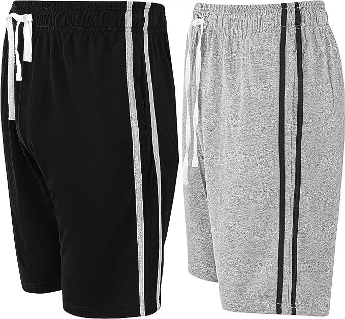 Pack de 2 pantalones cortos para hombre, ropa de dormir súper suave y cómodo de algodón negro/gris XXXXL: Amazon.es: Ropa y accesorios