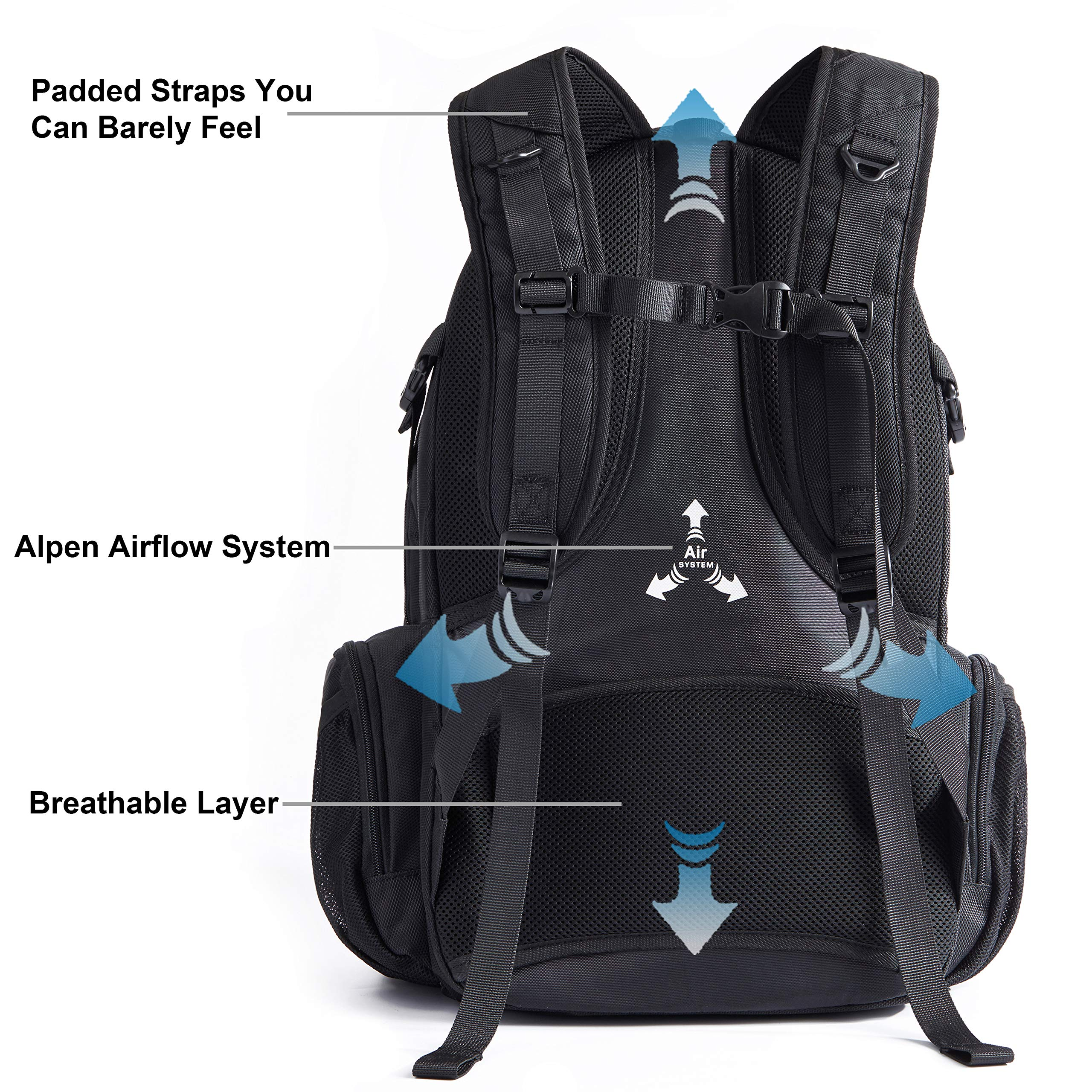 Swiss Alpen - Blanc Backpack - Water Resistant Durable 1680D Large Laptop Backpack for Travel, School & Business - Fits 15.6'' Laptop with USB Charging Port - Black Exclusive by Swiss Alpen (Image #6)