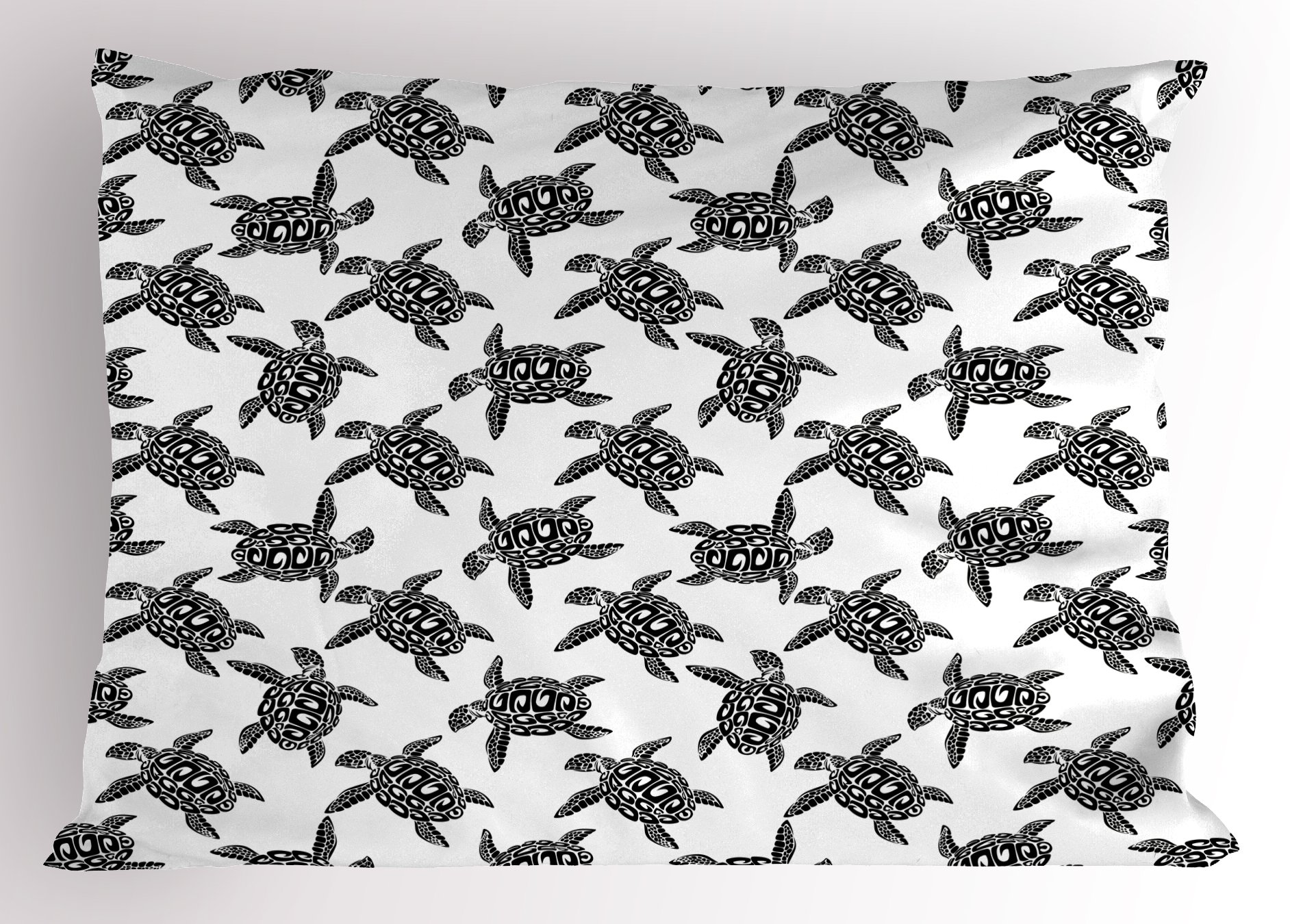 Lunarable Sea Animals Pillow Sham, Monochrome Illustration of Swimming Marine Sea Turtles with Tribal Details, Decorative Standard Queen Size Printed Pillowcase, 30 X 20 inches, Black White