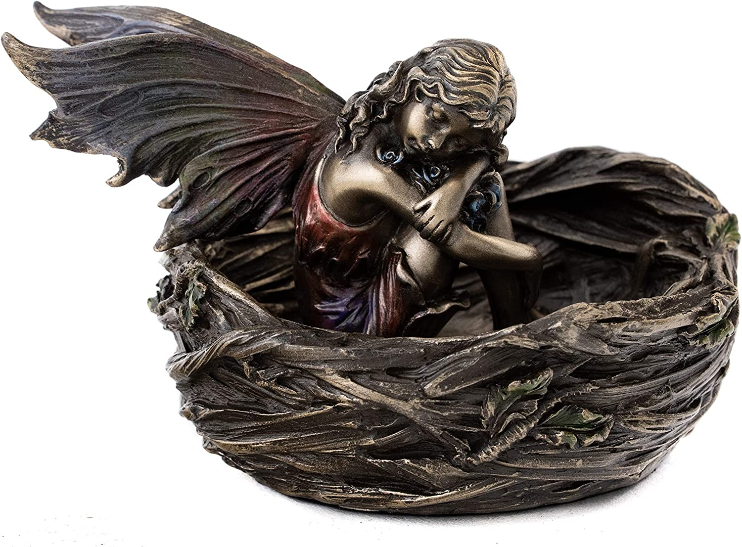 Top Collection Fairy Sleeping in Bird Nest Statue- Mythical Fairy Sculpture in Premium Cold Cast Bronze-2.5-Inch Collectible Fantasy Creature Figurine