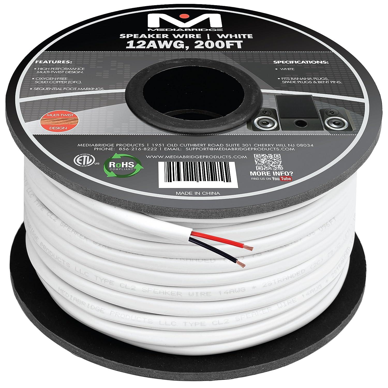 Amazon.com: Mediabridge 12AWG 2-Conductor Speaker Wire (200 Feet ...