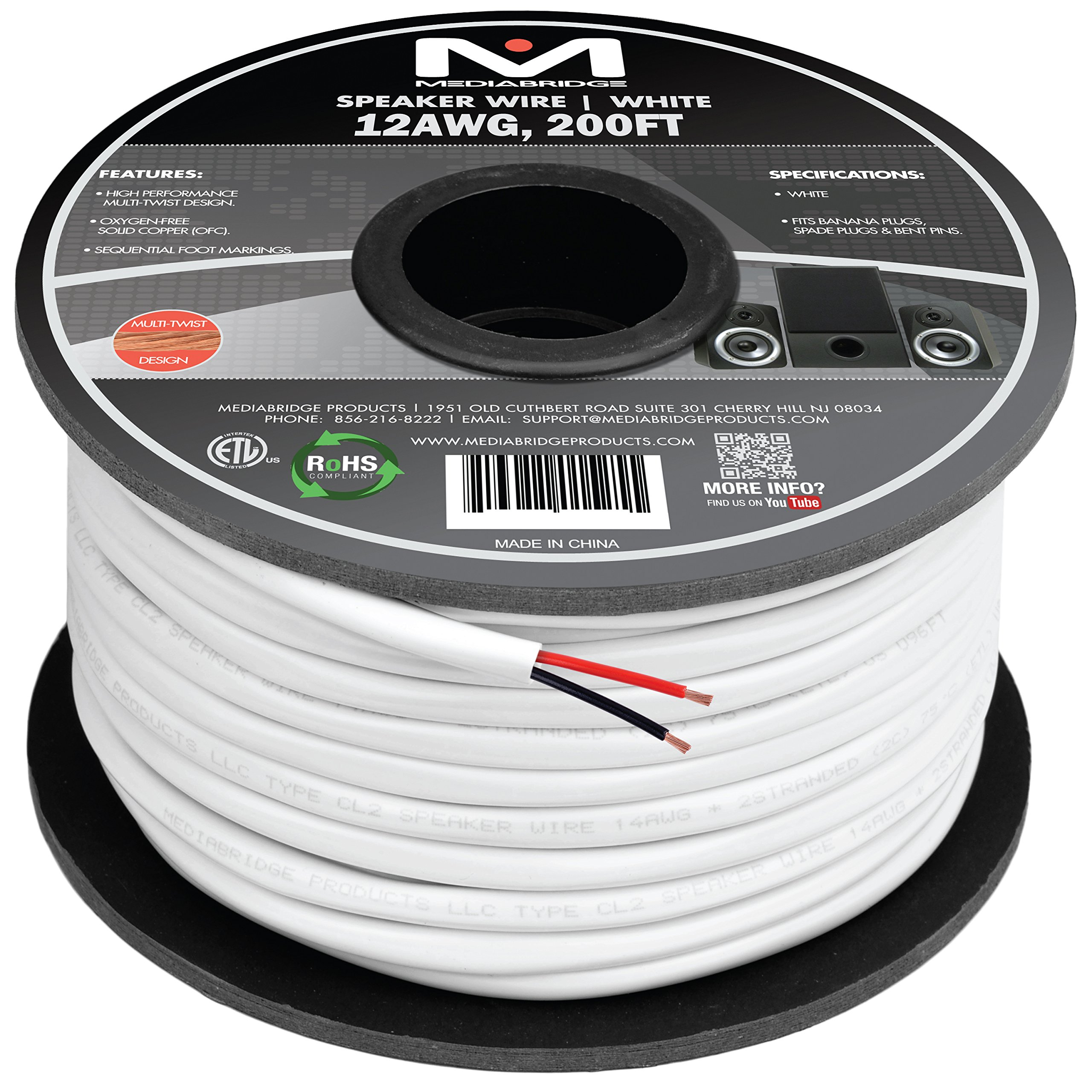 Mediabridge 12AWG 2-Conductor Speaker Wire (200 Feet, White) - 99.9% Oxygen Free Copper - ETL Listed & CL2 Rated for In-Wall Use (Part# SW-12X2-200-WH ) by Mediabridge