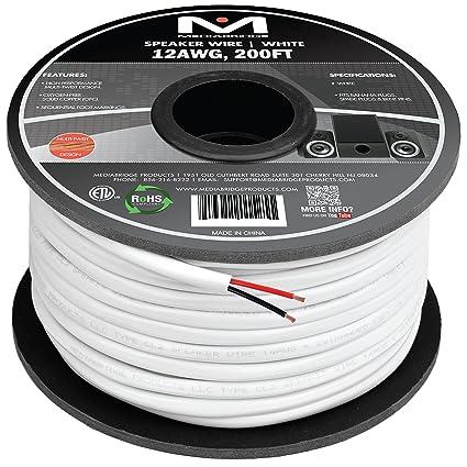 Mediabridge 12AWG 2-Conductor Speaker Wire (200 Feet, White) - 99.9% on
