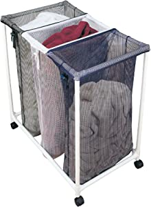 Smart Design Deluxe Rolling Triple Compartment Laundry Sorter Hampers w/Wheels - VentilAir Mesh Fabric - for Clothes & Laundry - Home Organization (Holds 9 Loads) [White, Blue, Green]