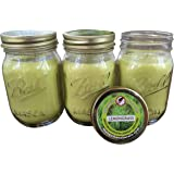Natural Lemongrass, Citronella Mosquito Repellent Candle (Set of 3) Indoor/Outdoor -88 Hour Burn- Naturally Repels Insects with Essential Oils, Soy Base, Ball Mason Jar, Made in USA, Mosquito Naturals