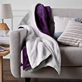 AmazonBasics Soft Micromink Sherpa Blanket - Throw, Plum