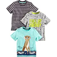 Simple Joys by Carter's Camisetas de Manga Corta con gráficos Bebé-Niños, Pack de 3