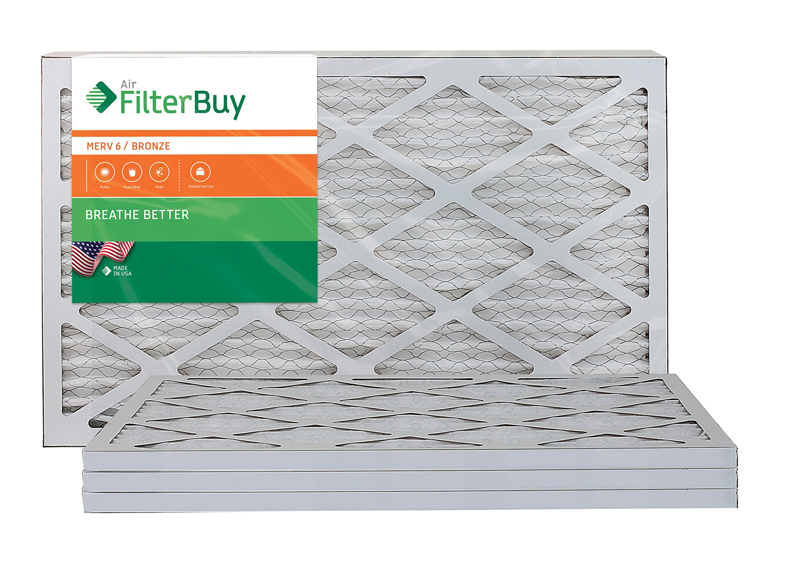 AFB Bronze MERV 6 16x25x1 Pleated AC Furnace Air Filter. Pack of 4 Filters. 100% produced in the USA.