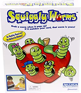 Pressman Squiggly Worms - No Reading Required Color Matching and Counting Action Game, Multi Color, 5""