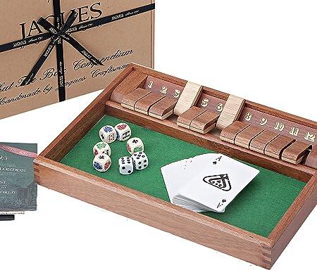 Jaques of London Shut The Box – Compendio de juego premium Shut the Box desde 1795: Amazon.es: Juguetes y juegos
