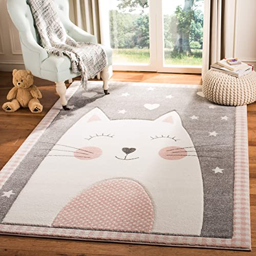 Safavieh Carousel Kids Collection CRK134P Cat Nursery Playroom Area Rug, 8 x 10 , Pink Grey
