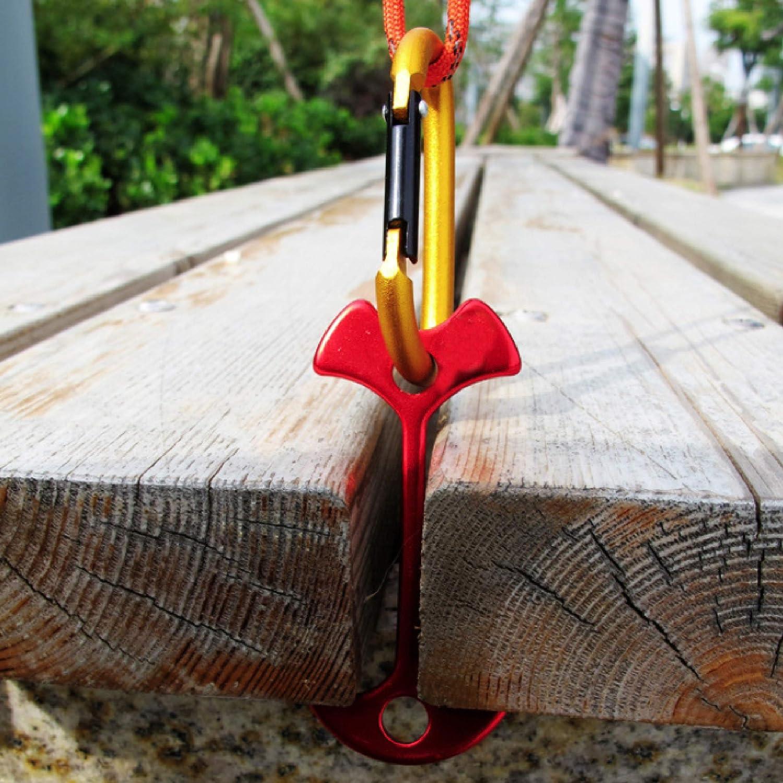 Azarxis Estacas de Pescado 6 Pcs con Mosquetones Aleaci/ón de Aluminio Camping Clavijas de Espina de Pescado para Tienda de Campa/ña Toldo Lona