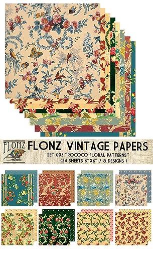 Paper Pack (24blatt 15x15cm) Rococo Baroque Floral Patterns FLONZ ...