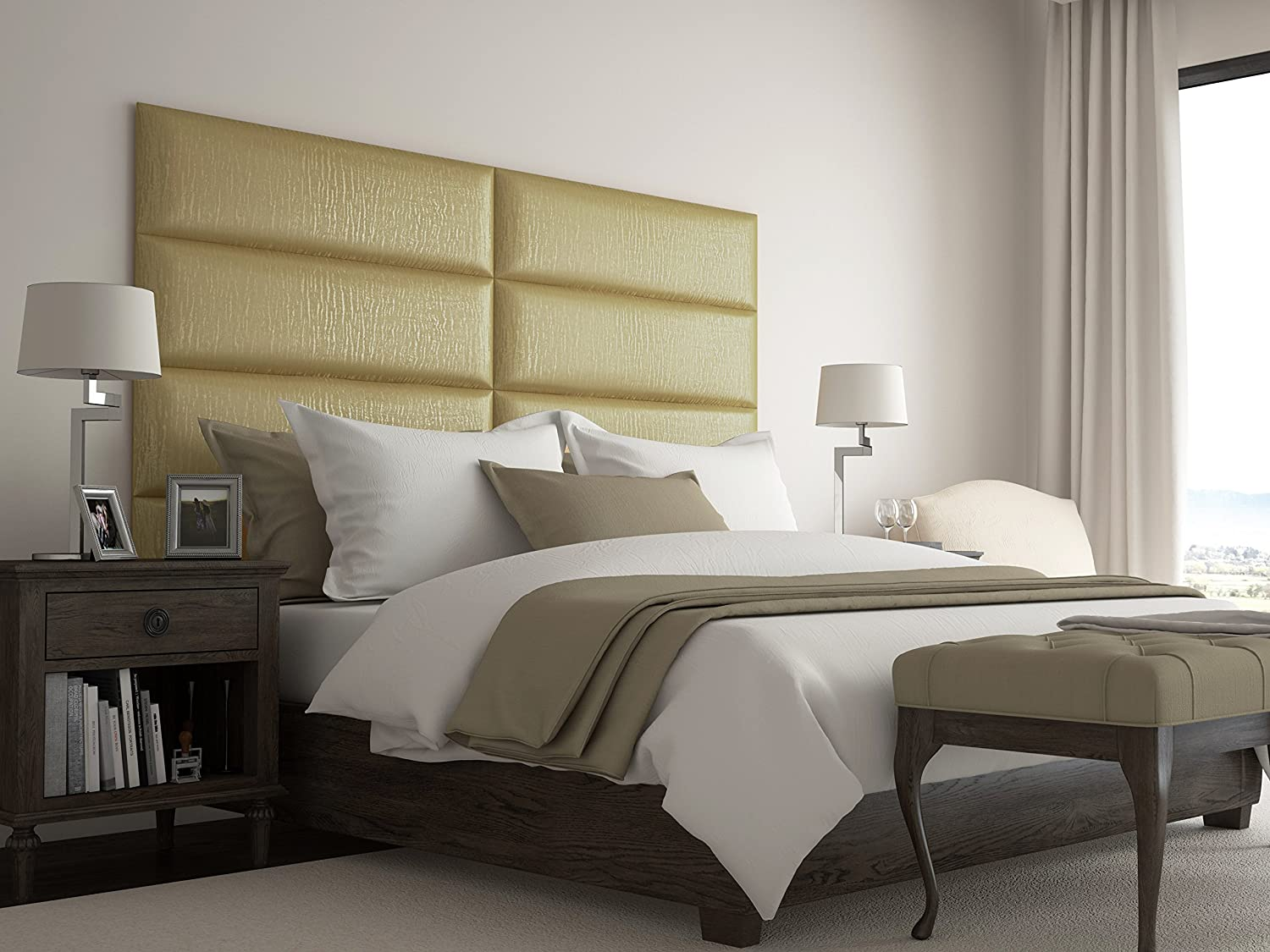 Vant upholstered headboards accent wall panels packs of 4 pearl gold 39 wide x 11 5 height easy to install twin king size headboard