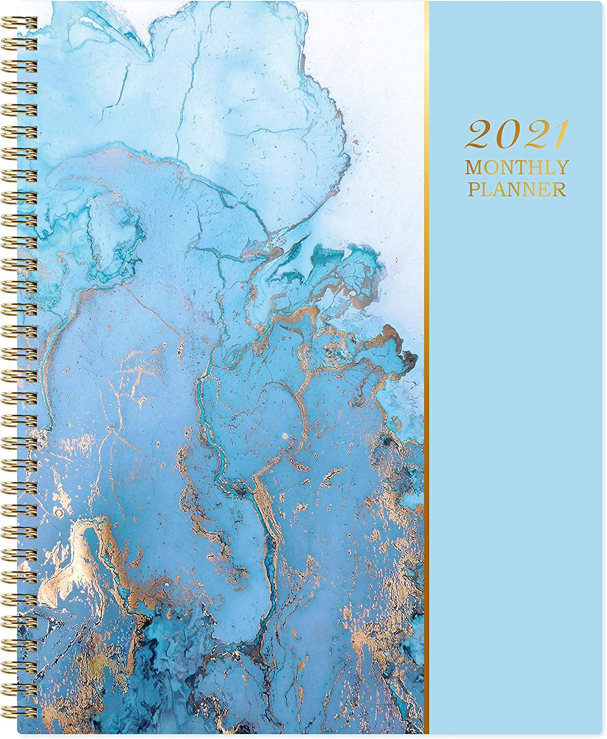 """2021 Monthly Planner - 12-Month Planner with Tabs & Pocket & Label, Contacts and Passwords, 8"""" x 10"""", Thick Paper, Jan. - Dec. 2021, Twin-Wire Binding - Gilding by Artfan"""