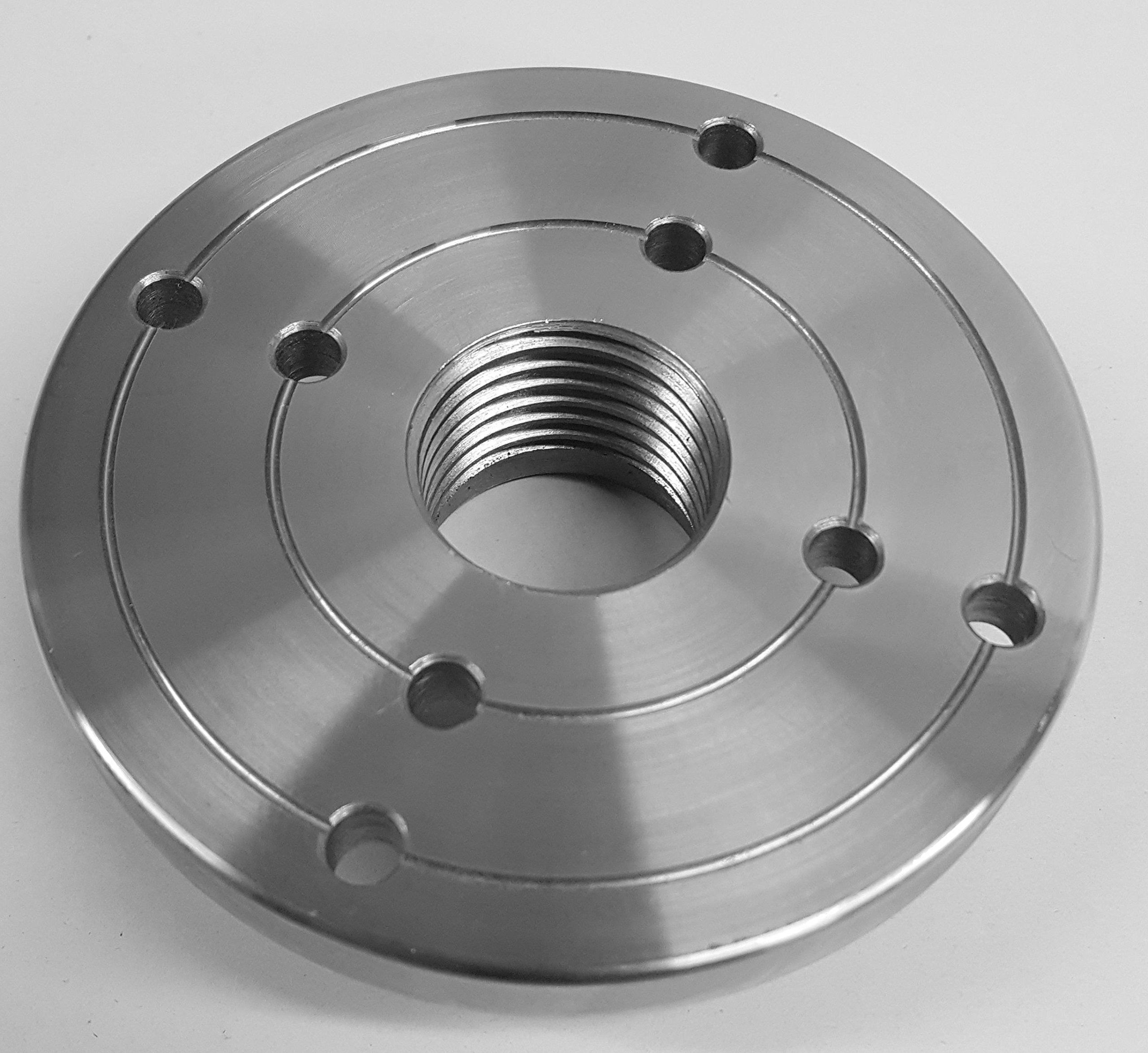 4'' Steel Wood Lathe Face Plate, 1-1/4'' x 8tpi Threaded