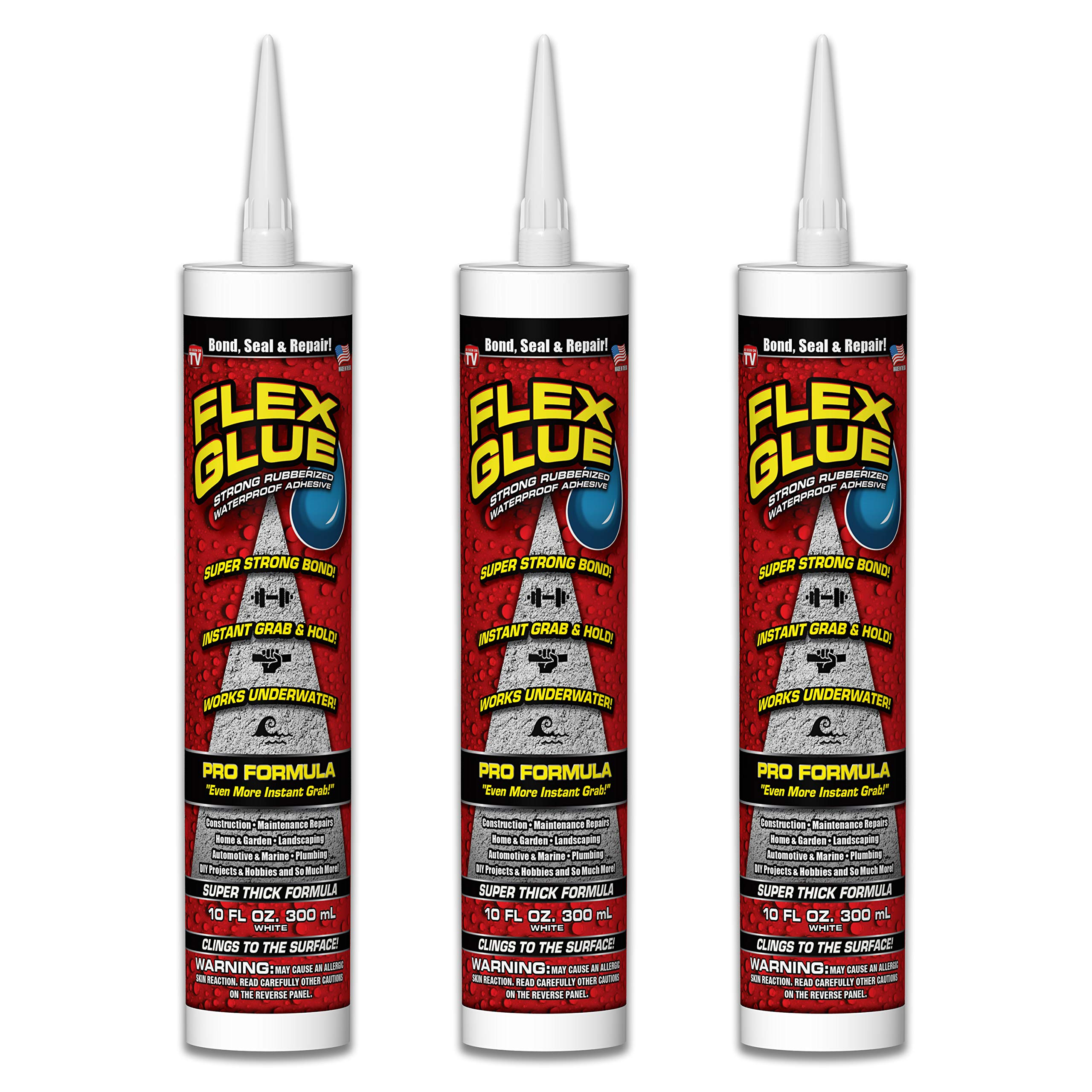 Flex Glue Strong Rubberized Waterproof Adhesive, 10-oz Pro Formula (3 Pack)