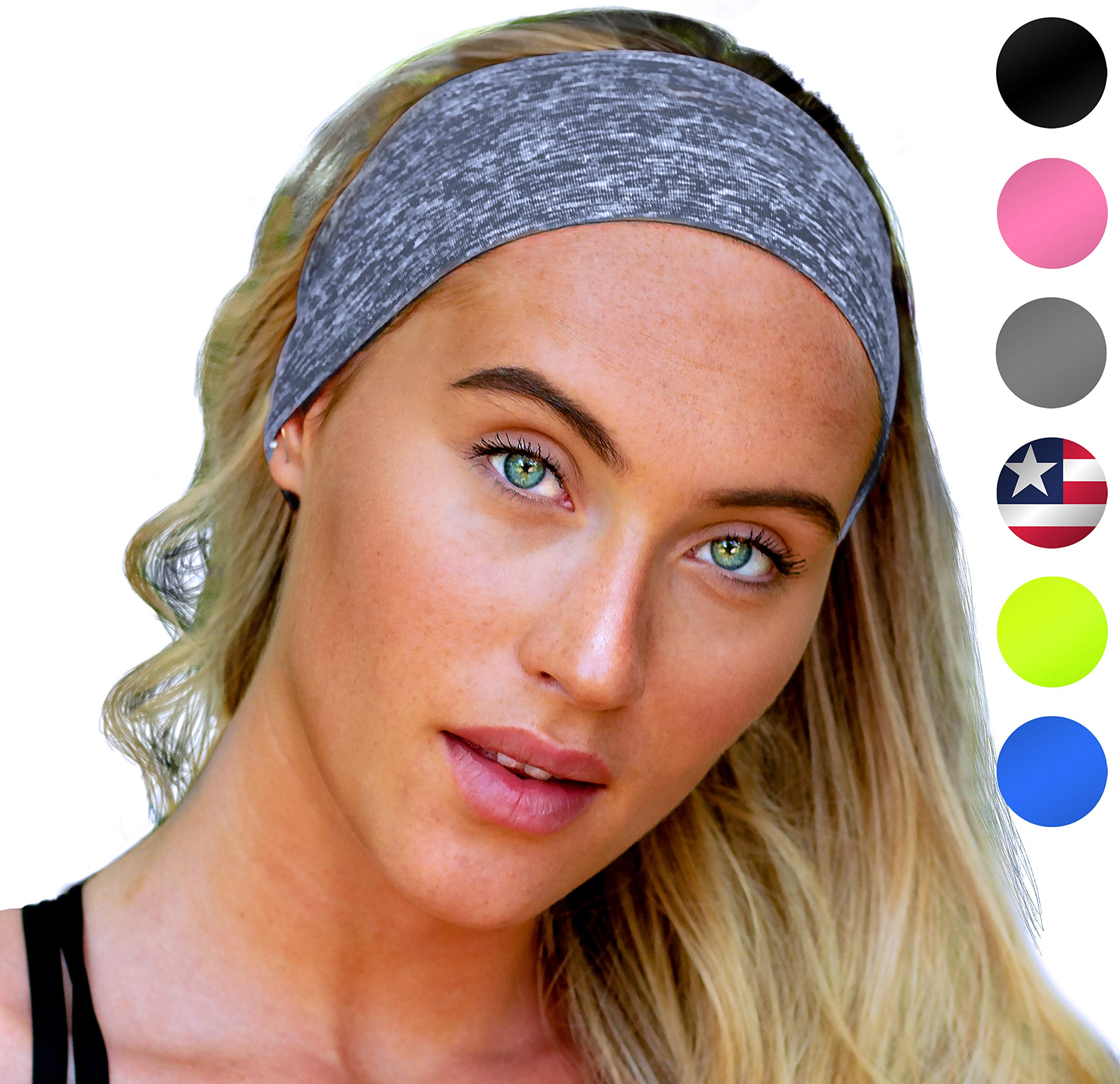 Yoga Headband: UNISEX Fitness Headbands For Women Girls & Men Head Band Sweatband for Running, Workout Gym Exercise. NO SLIP Sport Wrap Sweatbands & Sweat Wicking Athletic HeadWrap Bands Fit Over Hair by E Tronic Edge