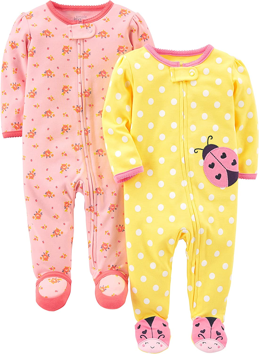 Simple Joys by Carters Baby-Girls 2-Pack Cotton Footed Sleep and Play
