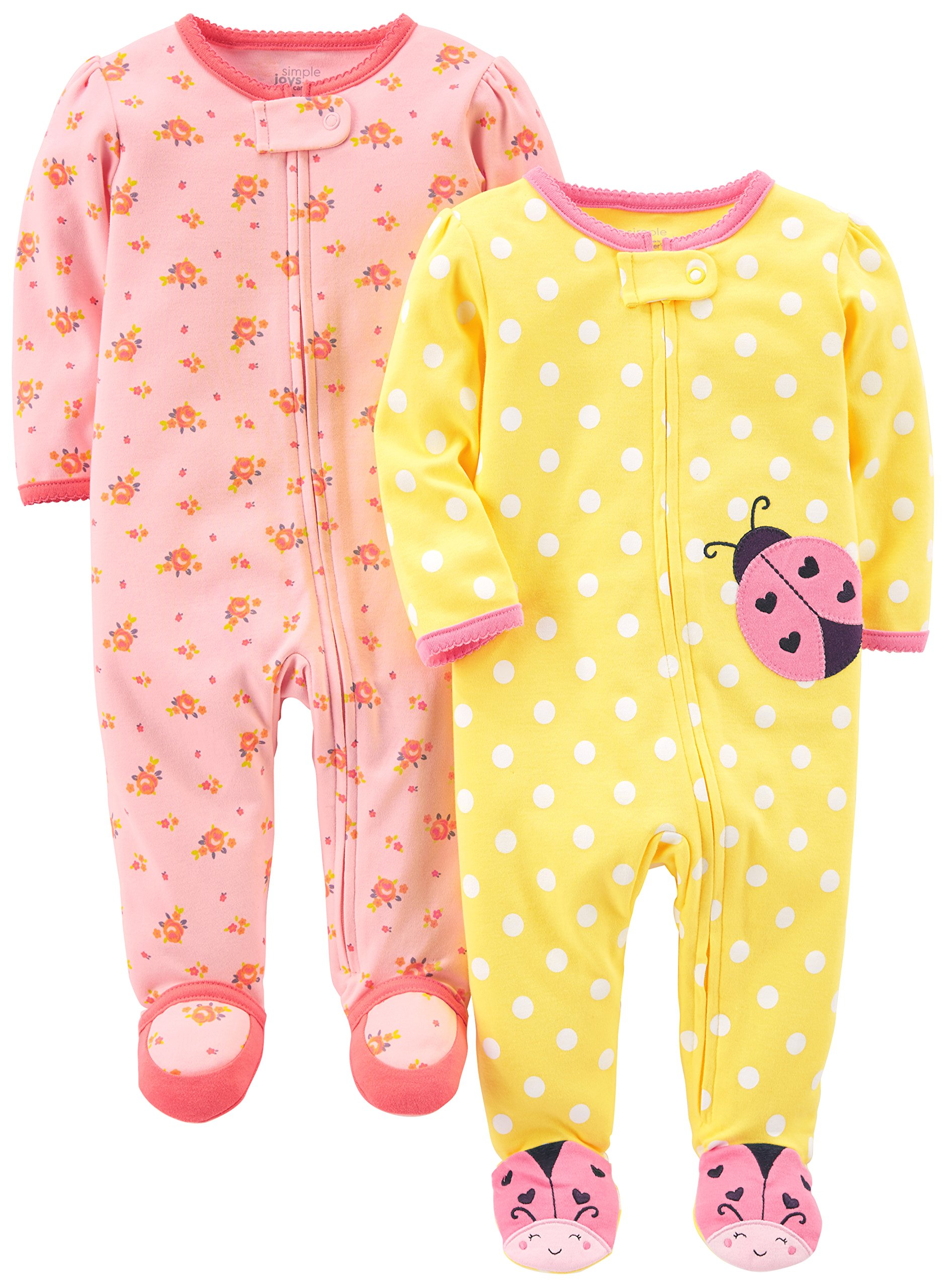 Simple Joys by Carter's Baby Girls' 2-Pack Cotton Footed Sleep and Play, Pink Floral/Ladybug, 0-3 Months