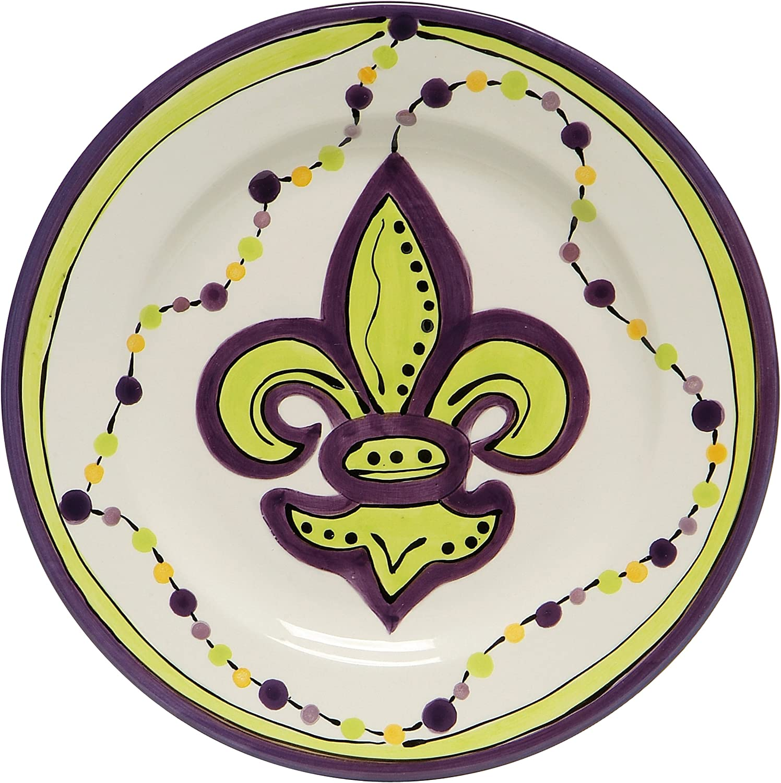 Caffco International Dana Wittmann Collection Ceramic Plates, Set of 4, 10.5-Inches in DiameterMardi Gras Fleur De Lis