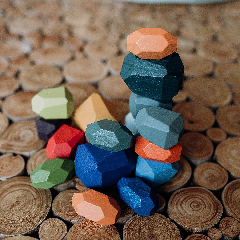 handgemacht aus Holz Meditationssteine Waldorf Natur Spielzeug f/ördert Feinmotorik und Konzentration Heilp/ädagogisches Spielzeug zur Entspannung und Konzentration Balancier Steine 16 St/ück Set