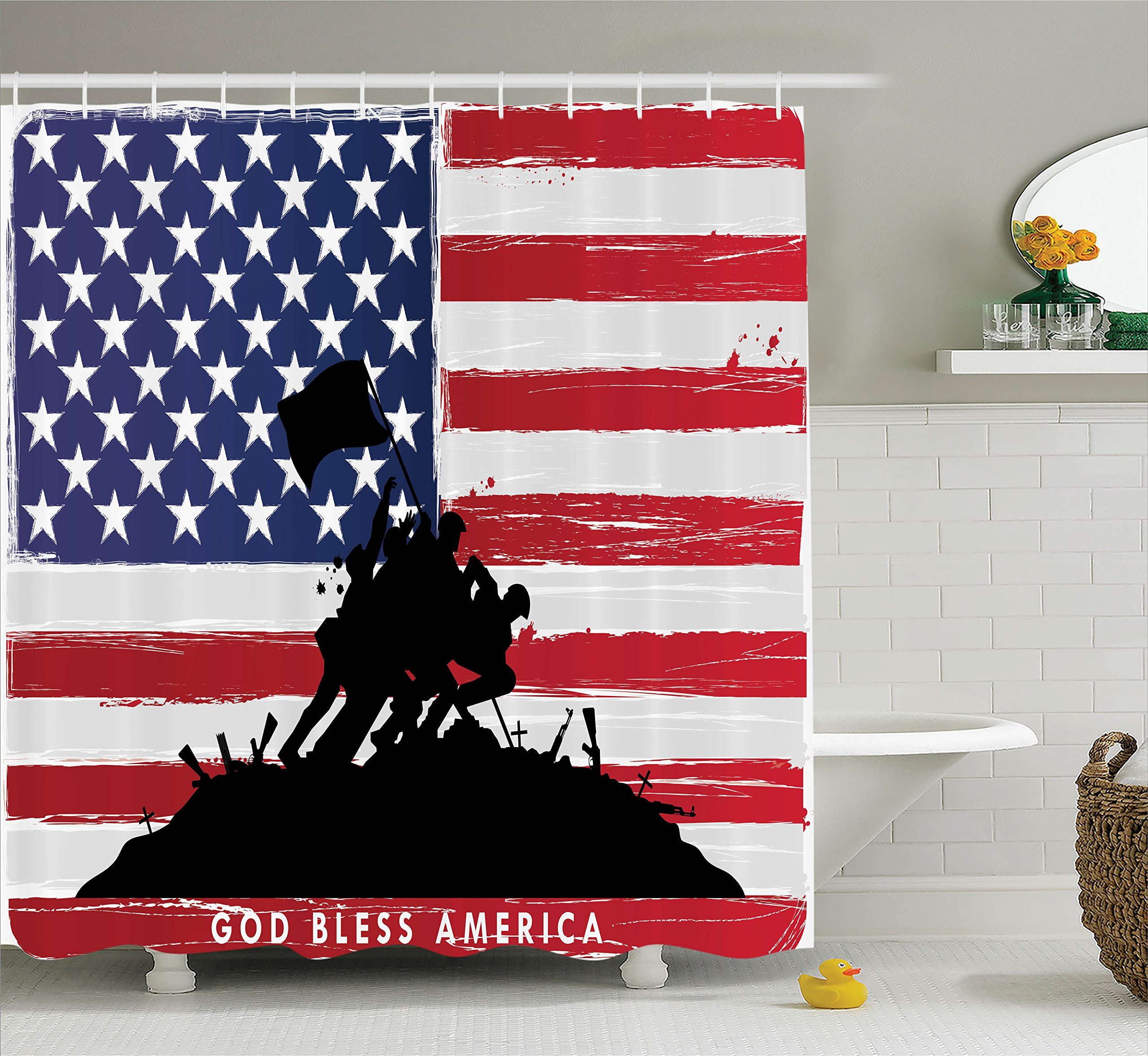 Ambesonne American Shower Curtain, Bless America Silhouettes of American USA Flag Background Valor Patriot Theme, Fabric Bathroom Decor Set with Hooks, 70 Inches, Black and Red