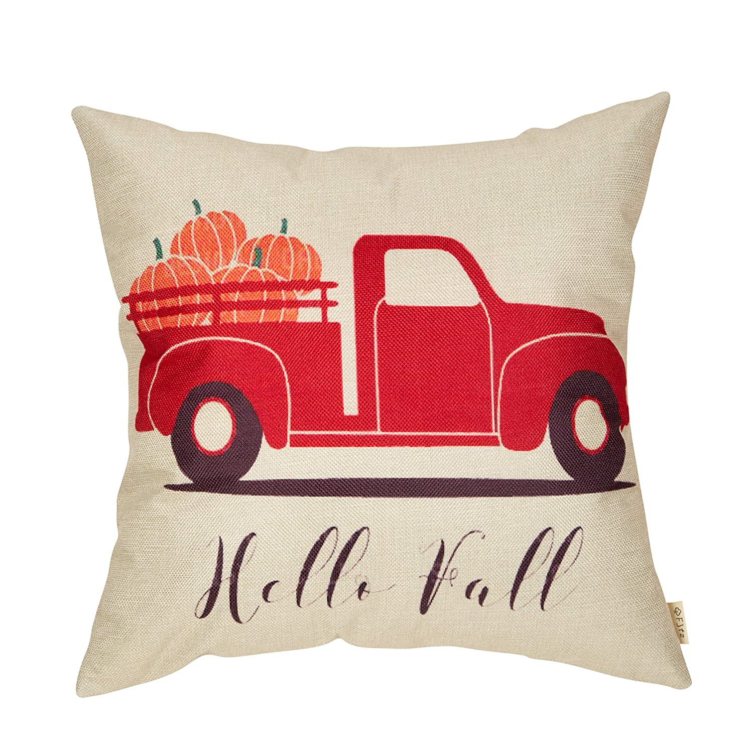 """Fjfz Hello Fall Decorative Throw Pillow Cover Autumn Pumpkin Sign Harvest Day Decoration Vintage Red Truck Rustic Farmhouse Home Decor Cotton Linen Cushion Case for Sofa Couch, 18"""" x 18"""""""