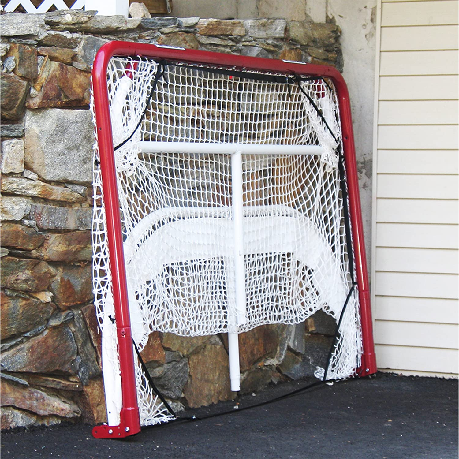 EZ Goal Hockey Backstop Kit with Targets, Red/White