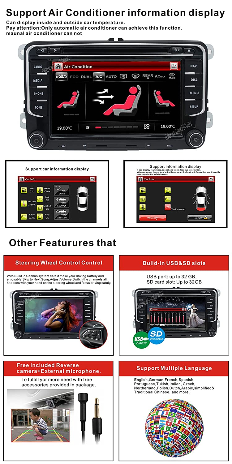 Car Stereo Hd 8 Inch Double 2 Din Gps Navigation Dvd Radio Wire Wiring Harness To Factory For 20052016 Auto Audio Video Vw Golf Passat Tiguan Polo Jetta Skoda Seat Eos Us Map Camera Mic