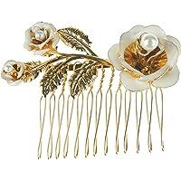 Underbar guldton metall blommig detalj brudkam En storlek 7cm White