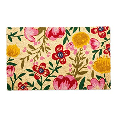 DII CAMZ11126 Indoor/Outdoor Natural Coir Easy Clean PVC Non Slip Backing Entry Way Doormat for Patio, Front, Weather Exterior Doors, 18x30, Bright Blossom