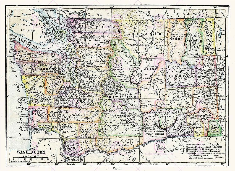 MAP ANTIQUE 1914 WILLIAMS WASHINGTON STATE COUNTIES USA REPLICA PRINT on usa national map, usa tourist destinations map, usa lakes map, usa transportation map, usa florida map, usa towns map, usa colleges map, usa metro areas map, usa education map, usa city map, usa school map, usa history map, usa streams map, usa county map outline, usa states map, interactive us county map, usa country map, usa districts map, usa statehood map, usa military map,