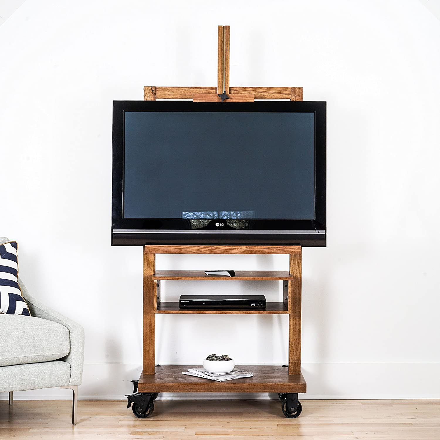 Amazon Com Hives And Honey Cullen Oak 3 Tier Tv Stand For Flat Tv