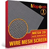 MAPORCH 304 Stainless Steel Mesh Screen Type Mesh 20 Wire 11.4'X 23.6' (29cm X 60cm) Woven Vent Mesh, Metal Wire Mesh…