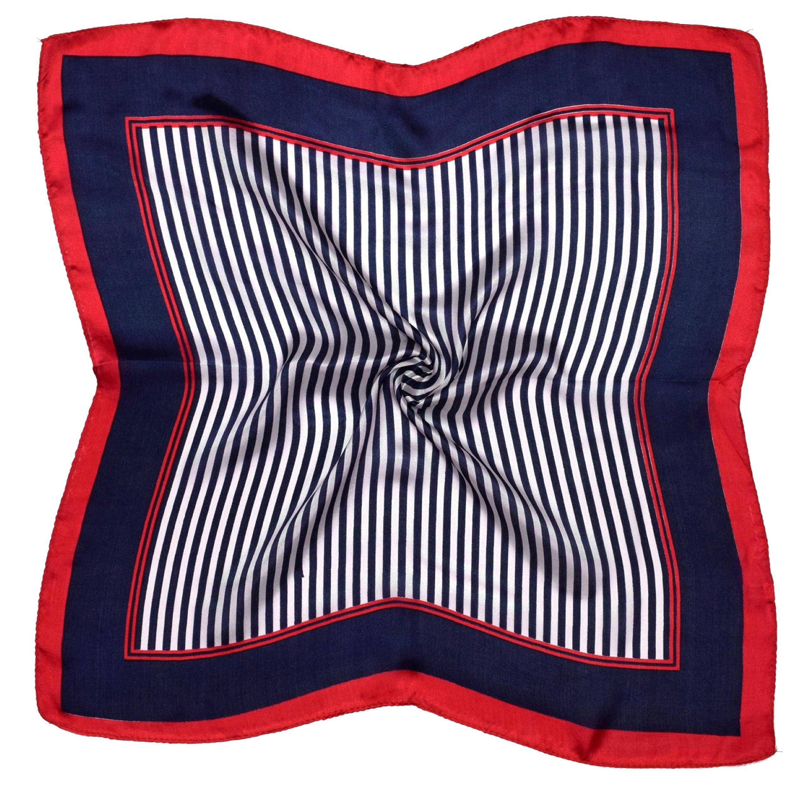 Red Navy Stripe Printed Small Square Fine Silk Scarf