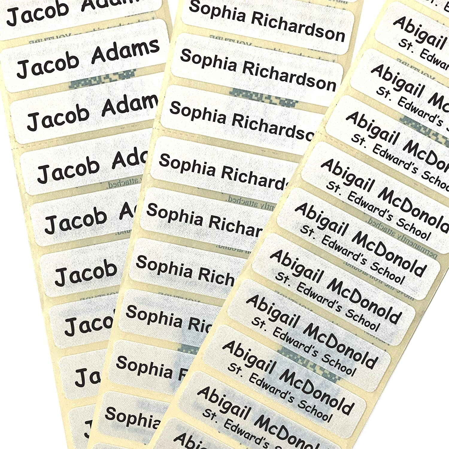50 pre cut printed name tapes labels iron on school uniform tags pre cut nametapes in soft satin fabric amazon co uk office products