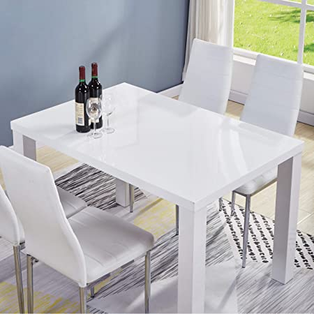 Goldfan Morden High Gloss Dining Tables Taku Rectangle Kitchen Tables 4 6 Seater Dining Table Wood White Only Table Amazon Co Uk Kitchen Home